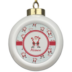 Santa Clause Making Snow Angels Ceramic Ball Ornament (Personalized)