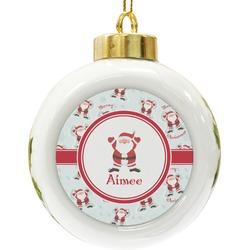 Santa Claus Ceramic Ball Ornament (Personalized)