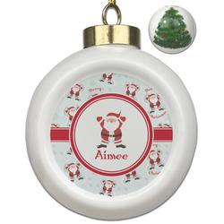 Santa Claus Ceramic Ball Ornament - Christmas Tree (Personalized)