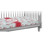 Santa Clause Making Snow Angels Crib Fitted Sheet w/ Name or Text