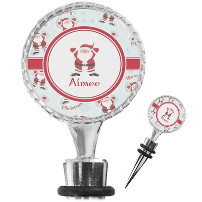 Santa Clause Making Snow Angels Wine Bottle Stopper (Personalized)