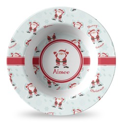 Santa Clause Making Snow Angels Plastic Bowl - Microwave Safe - Composite Polymer (Personalized)