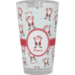 Santa Clause Making Snow Angels Drinking / Pint Glass (Personalized)