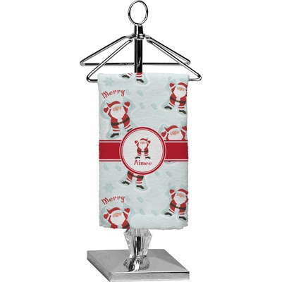 Santa Clause Making Snow Angels Finger Tip Towel - Full Print w/ Name or Text