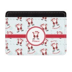 Santa Claus Genuine Leather Front Pocket Wallet (Personalized)