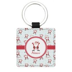 Santa Claus Genuine Leather Rectangular Keychain (Personalized)