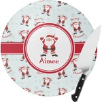 Santa Claus Round Glass Cutting Board (Personalized)