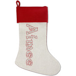 Santa Clause Making Snow Angels Red Linen Stocking (Personalized)