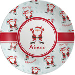 Santa Clause Making Snow Angels Melamine Plate (Personalized)
