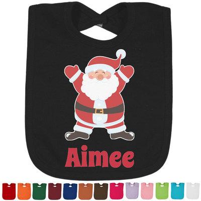 Santa Clause Making Snow Angels Cotton Baby Bib - 14 Bib Colors (Personalized)