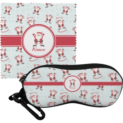 Santa Clause Making Snow Angels Eyeglass Case & Cloth w/ Name or Text