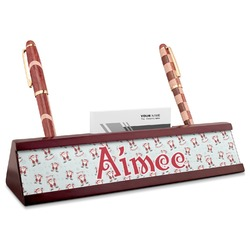 Santa Clause Making Snow Angels Red Mahogany Nameplate with Business Card Holder (Personalized)