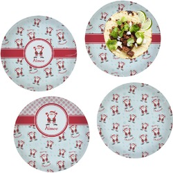 Santa Claus Set of 4 Lunch / Dinner Plates (Glass) (Personalized)