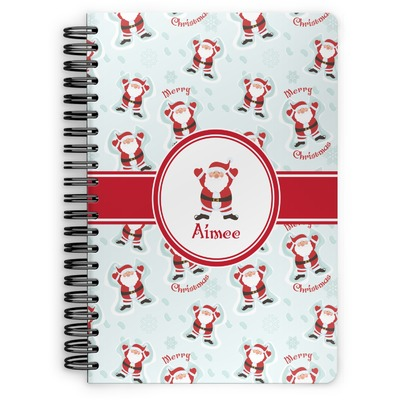 Santa Clause Making Snow Angels Spiral Notebook (Personalized)