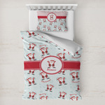 Santa Clause Making Snow Angels Toddler Bedding w/ Name or Text