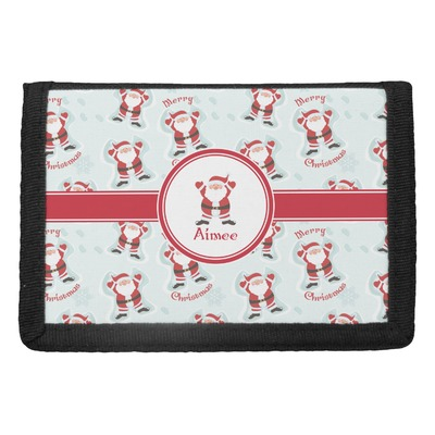 Santa Clause Making Snow Angels Trifold Wallet w/ Name or Text
