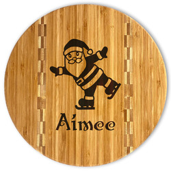 Santa Clause Making Snow Angels Bamboo Cutting Board (Personalized)