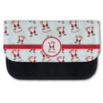 Santa Clause Making Snow Angels Canvas Pencil Case w/ Name or Text
