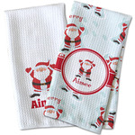 Santa Clause Making Snow Angels Waffle Weave Kitchen Towel (Personalized)