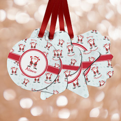 Santa Clause Making Snow Angels Metal Ornaments - Double Sided w/ Name or Text