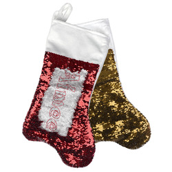 Santa Clause Making Snow Angels Reversible Sequin Stocking (Personalized)