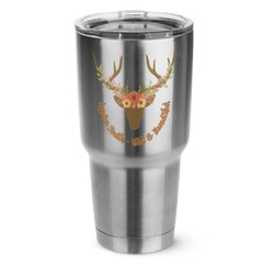 Floral Antler 30 oz Silver Stainless Steel Tumbler w/Full Color Graphics (Personalized)