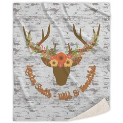 Floral Antler Sherpa Throw Blanket (Personalized)