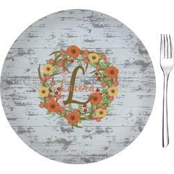 "Floral Antler 8"" Glass Appetizer / Dessert Plates - Single or Set (Personalized)"