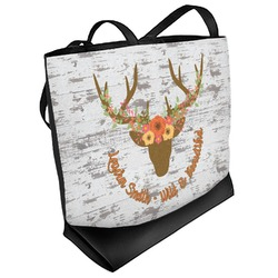 Floral Antler Beach Tote Bag (Personalized)