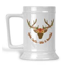 Floral Antler Beer Stein (Personalized)