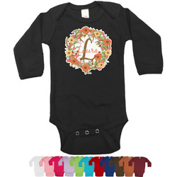 Floral Antler Long Sleeves Bodysuit - 12 Colors (Personalized)