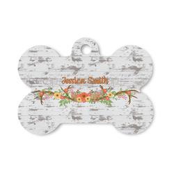 Floral Antler Bone Shaped Dog Tag (Personalized)