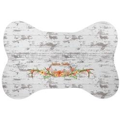Floral Antler Bone Shaped Dog Food Mat (Personalized)