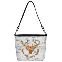 Floral Antler Bucket Bag w/ Genuine Leather Trim (Personalized)