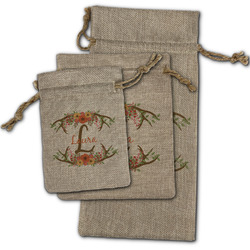 Floral Antler Burlap Gift Bags (Personalized)
