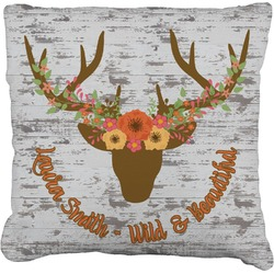 Floral Antler Faux-Linen Throw Pillow (Personalized)
