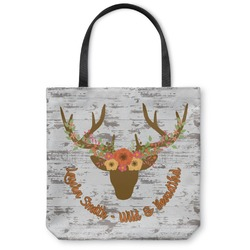 Floral Antler Canvas Tote Bag (Personalized)