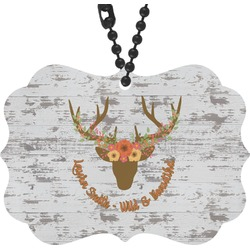Floral Antler Rear View Mirror Charm (Personalized)