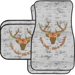 Floral Antler Car Floor Mats Set - 2 Front & 2 Back (Personalized)