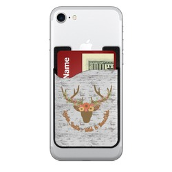 Floral Antler 2-in-1 Cell Phone Credit Card Holder & Screen Cleaner (Personalized)