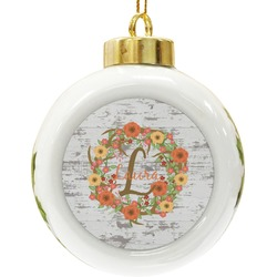 Floral Antler Ceramic Ball Ornament (Personalized)