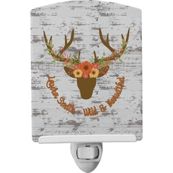 Floral Antler Ceramic Night Light (Personalized)