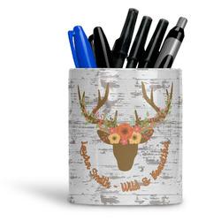 Floral Antler Ceramic Pen Holder