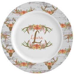 Floral Antler Ceramic Dinner Plates (Set of 4) (Personalized)
