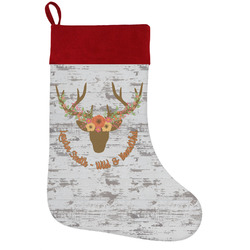 Floral Antler Holiday Stocking w/ Name or Text