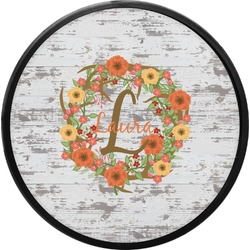 Floral Antler Round Trailer Hitch Cover (Personalized)