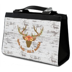 Floral Antler Classic Tote Purse w/ Leather Trim (Personalized)