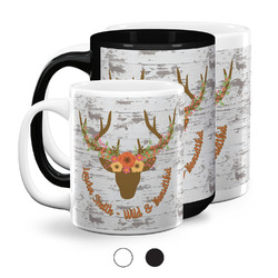 Floral Antler Coffee Mugs (Personalized)