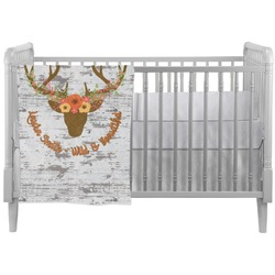Floral Antler Crib Comforter / Quilt (Personalized)