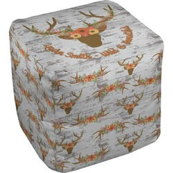 Floral Antler Cube Pouf Ottoman (Personalized)